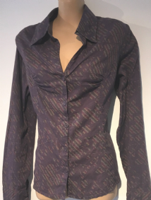 FAT FACE PURPLE PRINTED BUTTON SHIRT SIZE UK 12